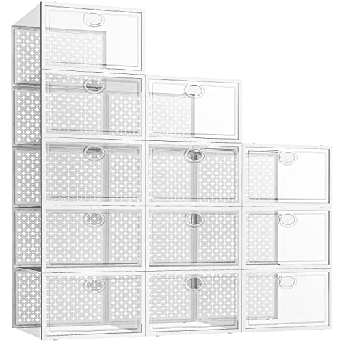 Pinkpum 12 Pack Shoe Storage Boxes, Clear Stackable Shoe Containers for Closet, Sneaker Storage Fit for Size 11