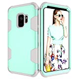 Folice Galaxy S9 Case, Hybrid Heavy Duty Shockproof Full-Body Protective Case with Three Layer [Hard PC Back+ Soft Silicone+PC Cover] Impact Protection for Samsung Galaxy S9 (Aqua+Grey)