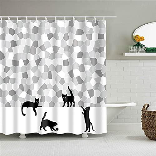 XCBN Simpatico animale Gatto Farfalla Tartaruga tenda da doccia decorazione bagno tenda da doccia tenda da doccia impermeabile A16 180x180cm