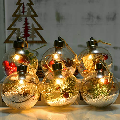 Artiflr Christmas Ball Ornaments with LED Light, 6pcs 3 inch Clear Fillable Hanging Ornaments Decorations for Christmas Tree Party Outdoor Indoor Christmas Ornaments