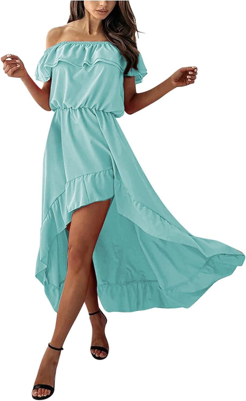 Hemlock Women Ruffle Off Shoulder Dress Irregular Long Maxi Dresses Slim Waist Beach Dress Solid Color