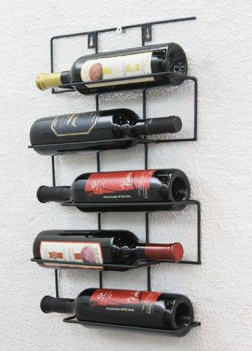 DanDiBo Weinregal Wand aus Metall Flaschenhalter Flaschenständer Wandregal Cinco 53 cm HX13615