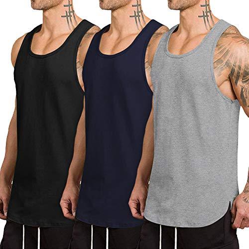 COOFANDY Pack de 3 camisetas sin mangas para hombre, secado rápido, para gimnasio, musculación, fitness, culturismo Negro Gris Azul Marino L