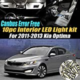 10Pc Canbus Error Free Super White 6000K Car Interior LED Light Kit Compatible for 2011-2013 Kia Optima Equipped w/Advanced Computer system