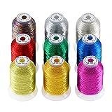 New brothread 9 Colores Básicos metálico Bordado Máquina Hilo 550M para bordado computarizado y costura decorativa