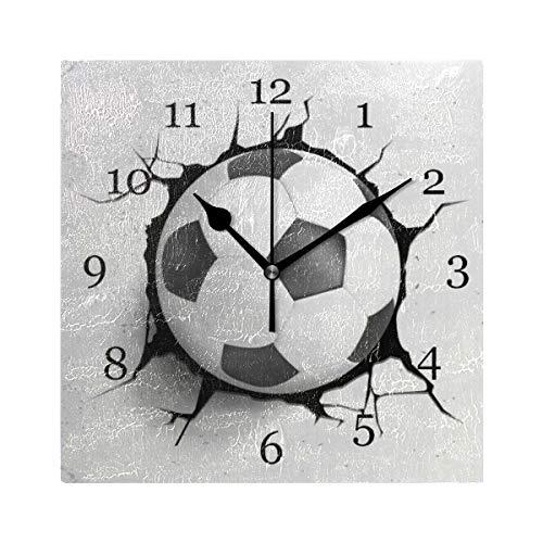 BIGJOKE - Orologio da Parete a Forma di Pallone da Calcio, Stile Vintage, Senza ticchettio, Funzionamento a Batteria, per Bambini, Soggiorno, Camera da Letto e Cucina, Decorazione per casa, Hotel