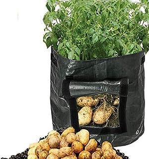 Messar 2-Pack Garden Potato Grow Bags, 7 Gallon Garden Vegetables Planter Bags with Access Flap and Handles Heavy Duty Sui...