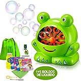 TANDES KIDS Máquina de burbujas para niños Rana de pompas baño - Incluye botella...
