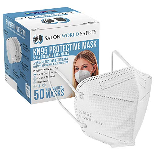 Salon World Safety KN95 Protective Masks, Box of 50 - Filter Efficiency ≥95%, 5-Layers, Protection Against PM2.5 Dust, Pollen, Haze-Proof - Sanitary 5-Ply Non-Woven Fabric, Safe, Easy Breathing Wear