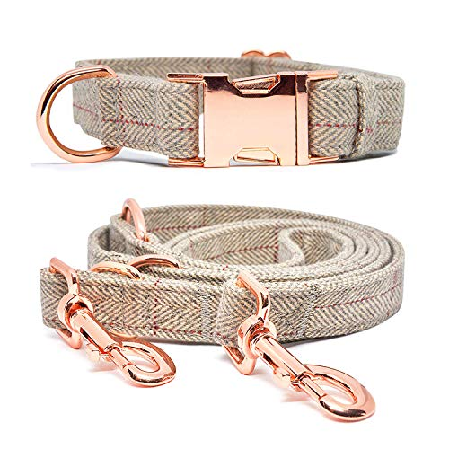 BYLEEDUR Heavy Duty Dog Collar and Leash (6.6') Set, Exceptionally Elegant with Rose Gold, 3 Adjustable Lengths & Timeless, Soft and Comfortable (L ( 15.7''-24'' ))