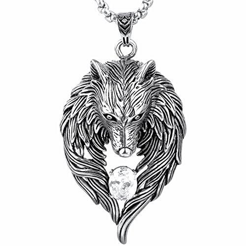 COPAUL Bijoux Acier Inoxydable Pendentif Collier Homme Lion Head,60cm cha/îne