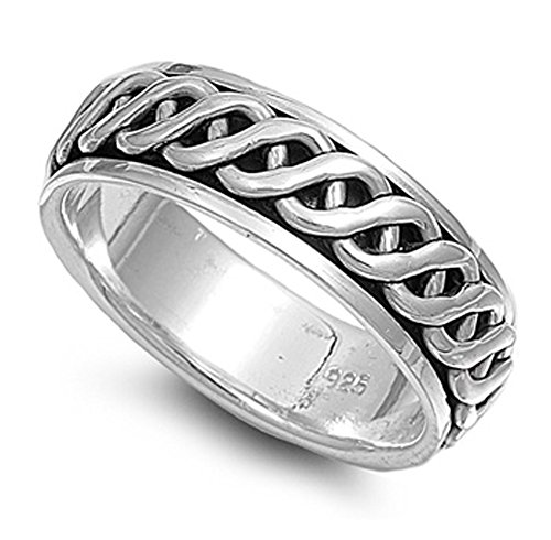 Sterling Silver Men's Celtic Knot Spinner Ring Wholesale Band 7mm Size 9