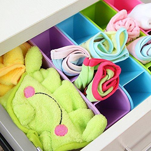 Zeroyoyo Solid Color Plastic Organizer Caddy Storage Box for Tie Bra Socks Drawer Cosmetic Kitchen Home Office Desk