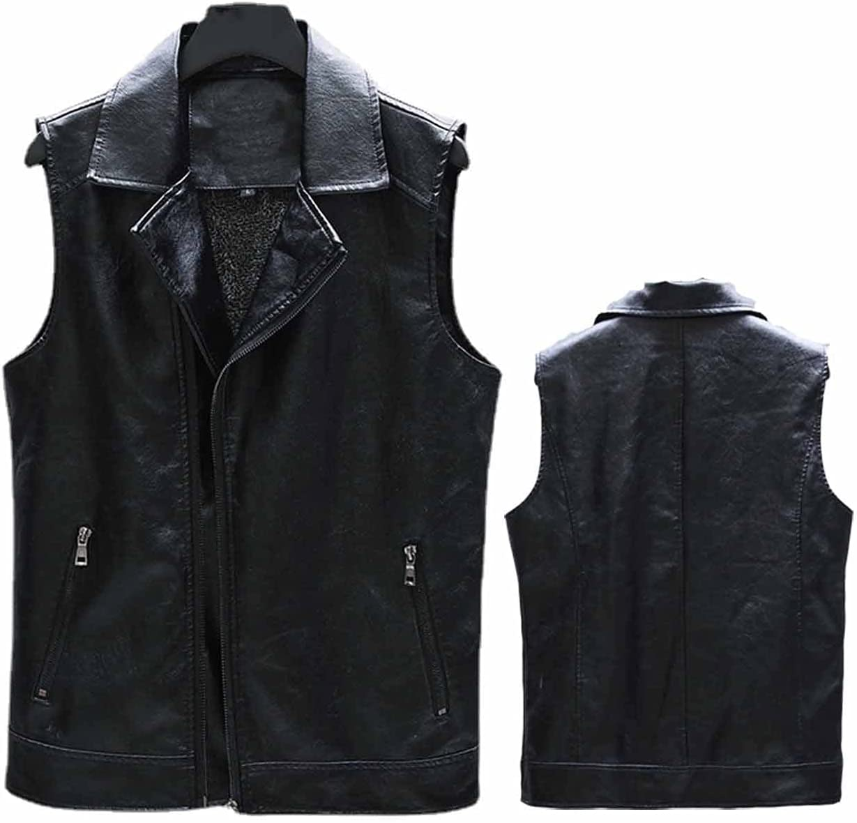 YXYECEIPENO Motorcycle Riding Leather Vest Lapel Leather Vest Jacket Artificial Leather Fabric, Wear Wear Well Work, Waterproof, Windproof M-4XL (Color : Black, Size : X-Large)