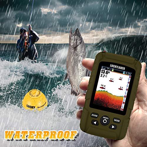 LUCKY Portable Sonar Fish Finder Boat Depth Fishing Fish Finders Waterproof Handheld Wireless Fishing Finder Kayak Transducer Depth Finders for Ice Fishing Sea