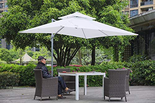 Angel Living Parasol Roman avec Double Top, 265 X 265cm Parasol avec Base Croisée pour Jardin/Terrasse/Piscine/Terrasse, Polyester 220g / m² (UV 50+), Mécanisme à Manivelle (Blanc)