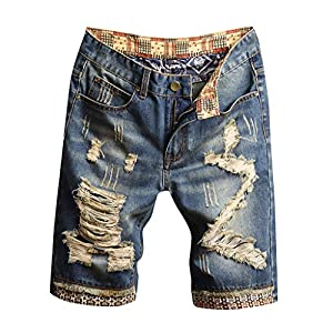 Men's Fashion Loose Break Hole Drape Inside Turn Over Shorts Jeans