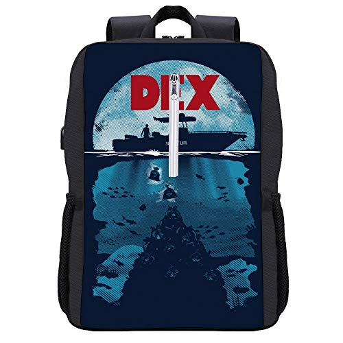 Dex Dexter Jaws Mashup Backpack Daypack Bookbag Laptop School Bag with USB Charging Port