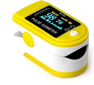 パルスオキシメータ 脈拍計 LEDディスプレイインスタント読み取 血中酸素濃度系 軽量 コンパクト 持ち運び 携帯 (黄(バッテリーなし))