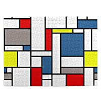 モンドリアンスタイルのデザインの 500ピースジグソーパズル 大人向け 減圧玩具 家の装飾 パズル 人気 パズルゲーム 知育おもちゃ