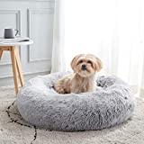 Calming Dog Bed & Cat Bed, Anti-Anxiety Donut Dog Cuddler Bed, Warming Cozy Soft Dog Round Bed, Fluffy Faux Fur Plush Pet Dog Cat Cushion Bed for Small Medium Dogs and Cats (20'/24'/27')