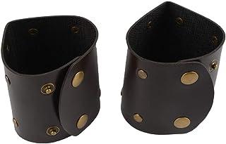 Amosfun 2pz Braccialetti in pelle nera Braccialetti gladiatore Braccialetti Cosplay Accessori per costumi