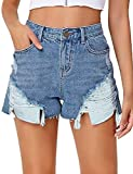 luvamia Women's Mid Rise Ripped Denim Shorts Frayed Raw Hem Casual Distressed Jeans Shorts Quiet Harbor, Size S