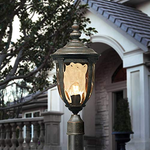 Bellagio Modern Outdoor Post Light with Pole Veranda Bronze 103' Champagne Glass for Exterior Garden Yard - John Timberland