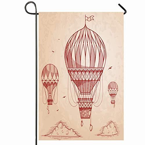 Gartenfahne im Freien 12,5 'x 18' Zoll alte heiße Vintage Luftballons Retro Himmel Gravur zeichnen Hand Steampunk Luftschiff viktorianische Zeichnung Saisonale Home Dekorative Haus Hof Zeichen