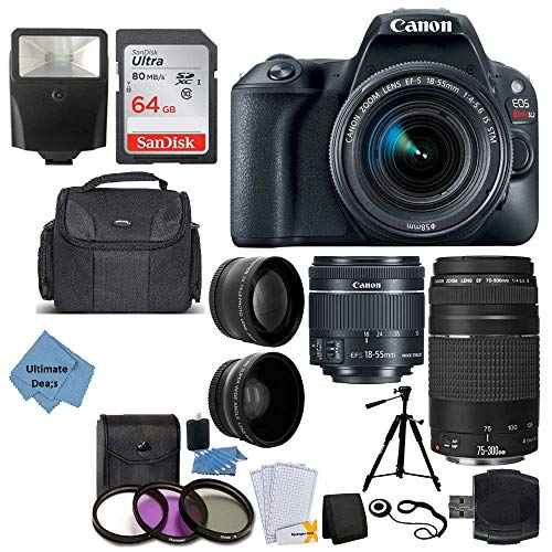 Canon EOS Rebel SL2 DSLR Camera + EF-S 18-55mm is STM + EF 75-300mm III + 64GB Memory Card + Wide Angle & Telephoto + Slave Flash + Quality Tripod + Case – Ultimate Bundle