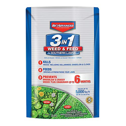 BioAdvanced 704840B 3 in 1 Weed and Feed for Southern 5M Lawn Fertilizer with Herbicide, 12.5...