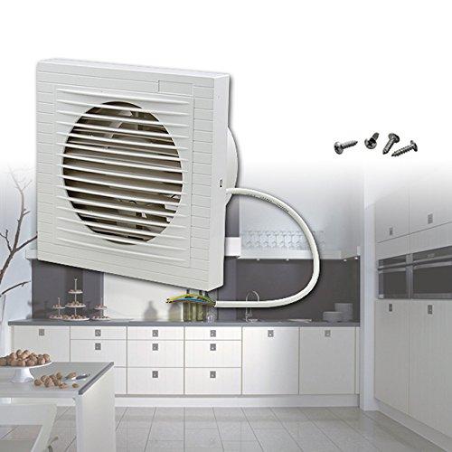 Ventilador extractor de pared silencioso de HG; color blanco, para cuarto de baño, cocina, WC, etc