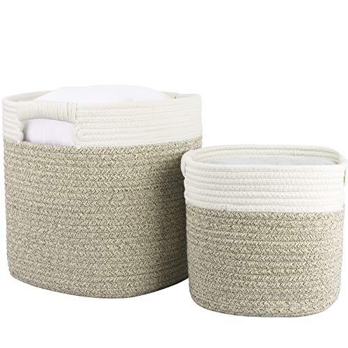 Cesta ropa sucia de algodón, cesta almacenaje de cuerda de algodón con asas, cesta ropa sucia bebe, 29.5cm(L)x29.5cm(W) x 31cm(H), Blanco y marrón claro, Set 2