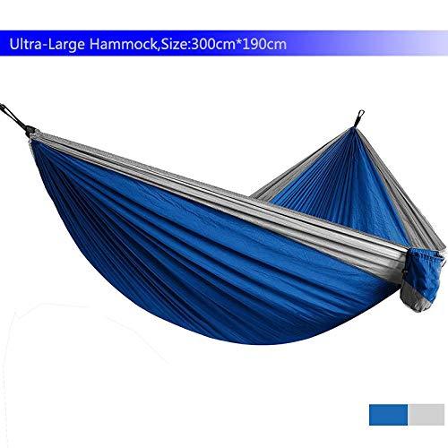 Ajcwhml Hamac de Parachute léger, lit Double pour Camping Survie Jardin Chasse Loisirs Voyage BlueandLightgrey