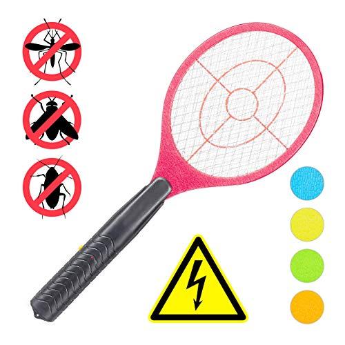 Relaxdays, rot elektrische Fliegenklatsche, ohne chemische Stoffe, gegen Fliegen, Mücken & Moskitos, Fly Swatter, HxBxT: 47x17,5x3cm