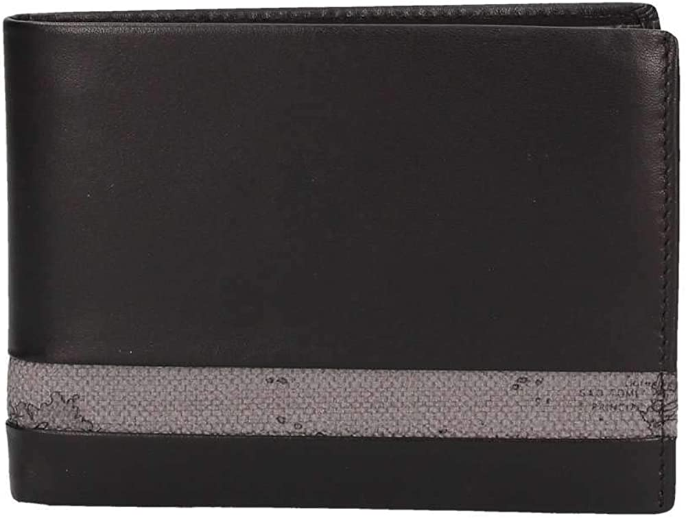 Alviero martini, portafoglio per uomo, in vera pelle con inserto geo grigio BVW14354000014