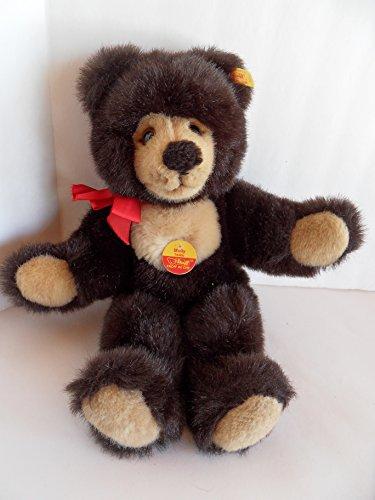 Steiff 021459 - Teddybär Molly Naskenbär 36 cm schwarz/beige stehend mit roter Schleife Quietschstimme sehr flauschig