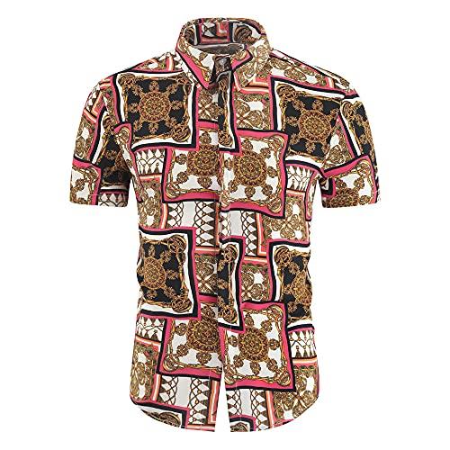 Playa Camisa Hombre Verano Ajustada Moderna Hombre Hawaiana Camisa Moda Estampado Cuello Kent Botón Placket Manga Corta Casual Camisa Vacaciones Secado Rápido Deportiva Camisa K-11 XL
