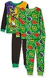 Nickelodeon Boys' Little Teenage Mutant Ninja Turtles 4-Piece Cotton Pajama Set, TMNT Power