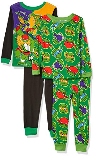 Nickelodeon Boys' Big Teenage Mutant Ninja Turtles 4-Piece Cotton Pajama Set, TMNT Power, 8