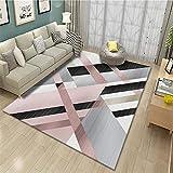 Alfombra Salon alfombras Exterior terraza Decoración Moderna de la Sala de Estar de la Alfombra Rosa Gris Suave y Lavable alfombras a Medida Online 50X80CM 1ft 7.7' X2ft 7.5'