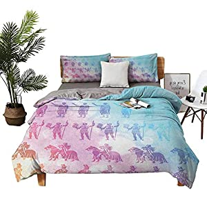 DRAGON VINES 4 Bedding Cover Set Flat Sheet Bed Sheets Queen Cotton Digital People Silhouettes from Different ERAS Medieval Ancient Modern Times Print Cyan Lilac Double-Bed Room