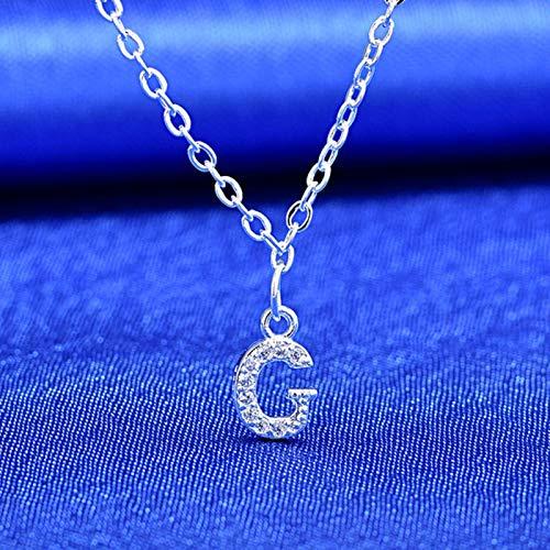 LIUL Piccola Collana con Ciondolo con Nome di Lettere iniziali dell'alfabeto Color Argento con zircone Lucido Pieno per Ragazze Miglior Regalo, G.