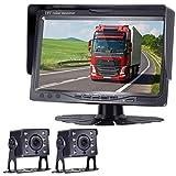 HD 720P Backup Camera and 7' Monitor Kit, 2 Cameras for School Bus/Trailer/RV/Truck/Pick up/Van Rear View Camera Single Power System IP68 Waterproof Night Vision Driving/Reversing Use
