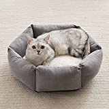 Western Home Cat Beds for Indoor Cats Dogs, Kitty Puppy Kitten Bed Round Soft Plush Flannel Pet Cushions Beds Washable