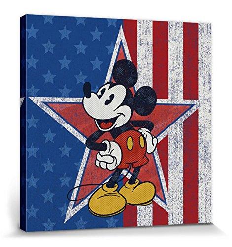 1art1 Mickey Mouse Poster Reproduction sur Toile, Tendue sur Châssis - Portrait Artistique Disney, Étoile Américaine, Drapeau États Unis (40 x 40 cm)