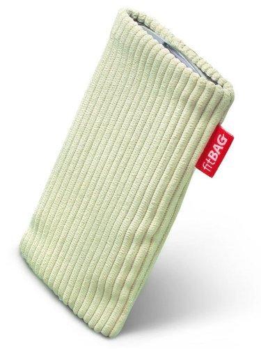 fitBAG Retro Pistazie Handytasche Tasche aus Cord-Stoff mit Microfaserinnenfutter für Vodafone 527