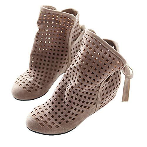 Ankle Boots Damen Flach Sommer Stiefeletten mit Schnürung und Absatz Cut Out Sandalen Gladiator Römersandalen Schuhe(Beige,42)