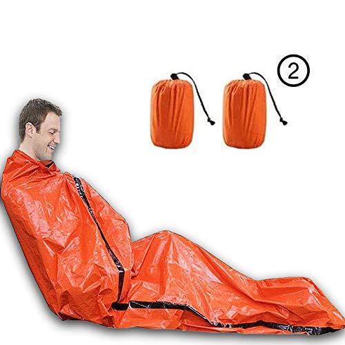 Habool Sac de couchage de survie en film d'aluminium PE, sac de bivouac d'urgence, couverture de sauvetage d'urgence réutilisable pour le camping et la randonnée (lot de 2)