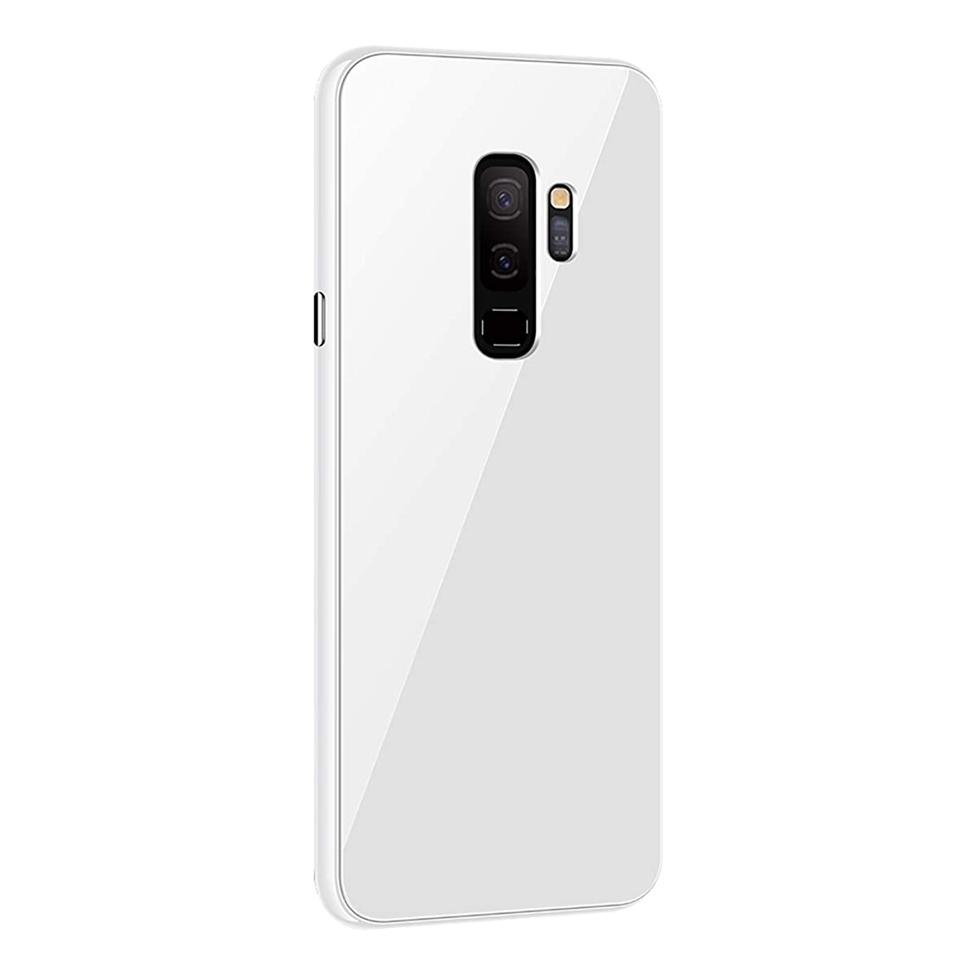 14chvier Case Compatible with Samsung Galaxy S9 Plus, Magnetic Adsorption Mobile Phone Case with Built-in Magnet Function Full Screen Cover Tempered Glass Back for Samsung Galaxy S9 Plus